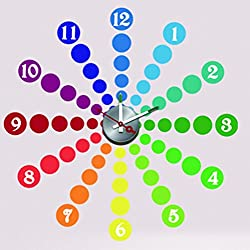 Fashion Art Decor Fun DIY Home Interior Time Decor Wall Clock Graphic Vinyl Adhesive Sticker Series 9 Style Colorful Dots