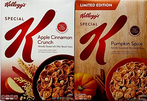 Apple Cinnamon Crunch, Pumpkin Spice - Limited Edition - Special K Breakfast Cereal - Fall Variety Bundle of 2-12.4 Oz Each
