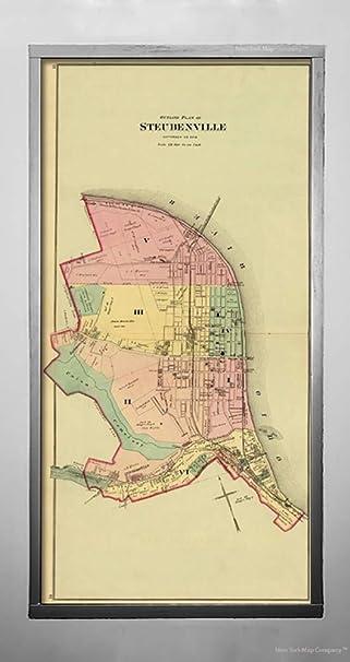 Amazon Com 1877 Map Regional Atlas Steubenville Ohio Vintage Fine