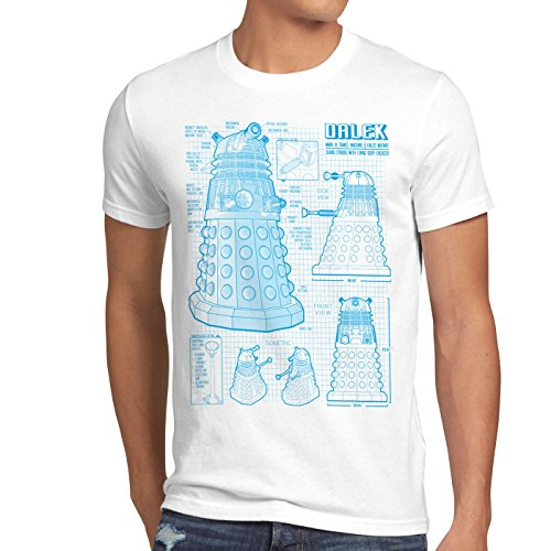 shirt Doctor Uomo Time Dalek Style3 Dr Who Bianco T Space Box Police Da Cianografia qnfg6t