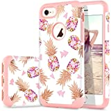 iPhone 7 Case, iPhone 8 Case, Flower Pineapple Design DUEDUE Dual Layer Hybrid Hard PC Soft Rubber Anti-Scratch Shockproof Protective Case Cover for iPhone 7/8 Rose Gold