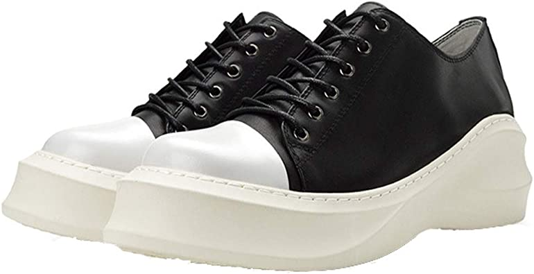 Amazon.com | Man Leather Fashion Sneakers Casual Lace Up Loafers Heighten  Shoes | Fashion Sneakers