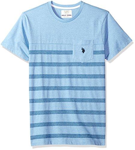 (U.S. Polo Assn. Men's Short Sleeve Crew Neck Striped T-Shirt, Sea Blue Heather Fklm, M)