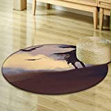 Non Slip Round Rugs Horror Decor Dark Soul from a Scary Movie Film on The Hills with Clouds and Flying Crows Print Black Decor Oriental Floor and Carpets R-24