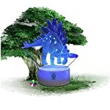 Dinosaur Illusion Night Light for Kids Birthday Gift Optical Desk Lamp Table Touch Nursery Walking Stegosaurus Animals Party Western Children Room Decor 7 color Changing USB Crackle New Year 2018 You