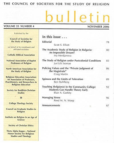 The Council of Societies for the Study of Religion Bulletin, Volume 32 Number 2, April 2003