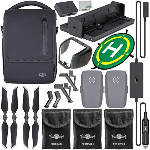 (DJI Mavic 2 Fly More Kit with Starter Accessory Bundle - Includes: 3X Protective Battery Bag + Landing Gear Extensions/Stabilizers + Lens Hood + Landing Pad + Microfiber Cleaning Cloth)