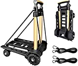 Folding Compact Hand Truck Dolly 155 lbs Capacity, 4 Wheels Portable Trolley Utility Cart, Adjustable and Lightweight for Luggage, Personal, Travel, Moving and Office Use