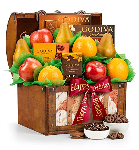 Happy Birthday Fresh Fruit & Godiva Chocolates Gift Basket
