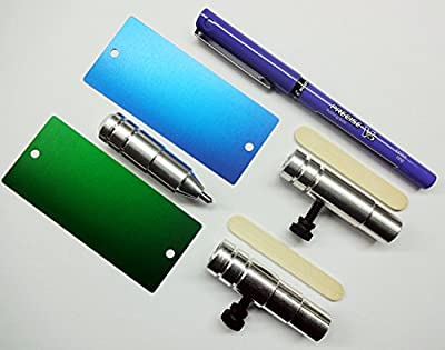 Bundle, 5 Items : The Etching Tool + Set of 2 Anodized Aluminum Blanks + Pen Holder + Marker Holder + Pilot Precise V5 Pen [CRICUT Explore / Explore Air/Air 2 Models]