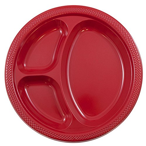 JAM PAPER Plastic 3 Compartment Divided Plates - Large - 10 1/4 inch - Red - 20/Pack