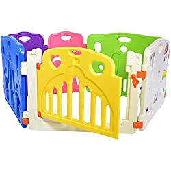 Lil' Jumbl Flexible Baby Play Yard – 6 Interconnecting Colorful Panels Form Playpen For Indoor & Outdoor Use – Includes Safety Gate & Interactive Play Panel – Extensions Available