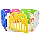 Lil' Jumbl Flexible Baby Play Yard - 6 Interconnecting Colorful Panels Form Playpen For Indoor & Outdoor Use - Includes Safety Gate & Interactive Play Panel - Extensions Available