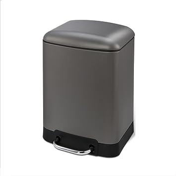 ZLL Küchen Abfalleimer Edelstahl Fußmontage Großer Hausmüllbehälter  (Kapazität: 12L) (