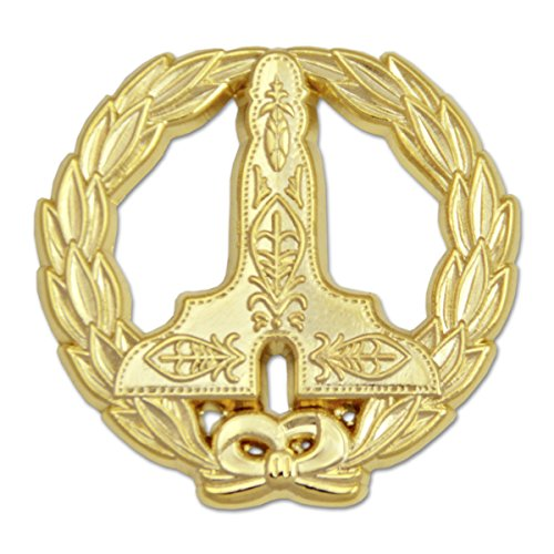 Wreathed Senior Warden Level Gold Masonic Lapel Pin - 1 1/4