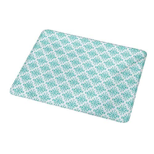 Abstract Damask Pearl - Gaming Mouse Pad Damask,Symmetrical Vintage Design Abstract Flower Swirls Ancient Cultural Ornaments,Seafoam White,Custom Non-Slip Mouse Mat 9.8