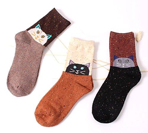 Womens Kids Wool Cute Animal Cartoon Casual Socks Soft Cotton Warm Novelty Funny Socks 3 Pairs for Girls Boys