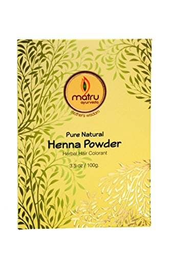Matru Ayurveda 100% Pure, Natural and Chemical free bestseller Hair and Beard Color/Dye, Mehandi / Henna Leaves Powder Hair conditioner ; Covers Gray Hair, Ayurvedic / Herbal Hair Color (single)
