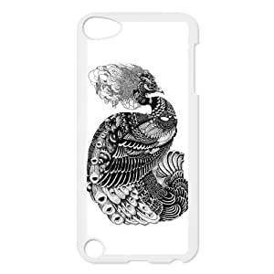 Black and White Peacock Protective Hard PC Back Fits Cover Case for iPod Touch 5, 5G (5th Generation)