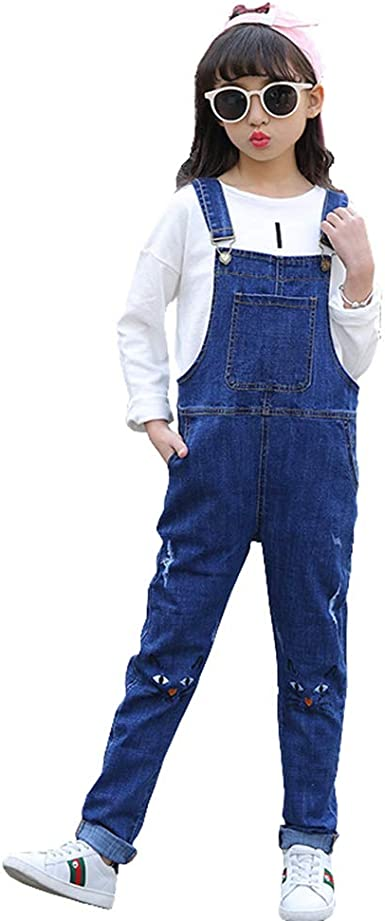 Digirlsor Little Big Girls Distressed Boyfriend Jeans Denim Overalls Pants Ripped Jeans Romper Jumpsuit,3-12 Years