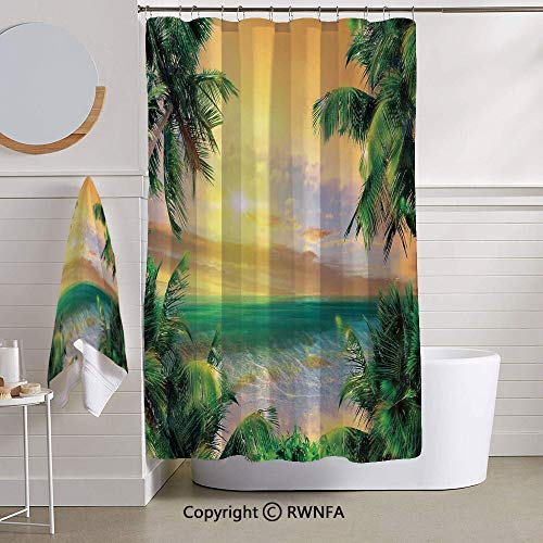 RWNFA Bathroom 2 Piece Set Shower Curtain and Bath Towel,Baldwin Beach Coastline Sunbeams Through Heavy Clouds Wavy Ocean View,for Bathroom Showers,Stalls and Bathtubs,Green Yellow