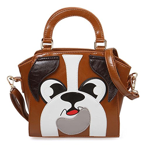 BMC Saddle Brown Faux Leather Animal Face Shaped Top Handle Fashion Clutch Handbag - Playful - Shaped Face