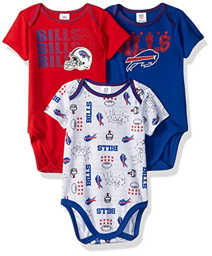 NFL Buffalo Bills Boys Short Sleeve Bodysuit (3 Pack), 3-6 Months, Navy