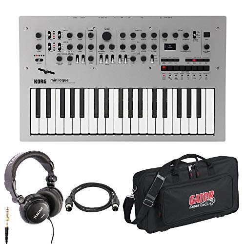 Korg 37-Key Minilogue Polyphonic Analog Synthesizer with Carrying Case, Headphones and Midi Cable