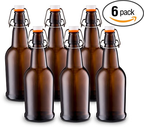 Home Brewing Glass Beer Bottle with Easy Wire Swing Cap &...