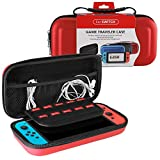 Nintendo Switch Carry Case with 10 Game Holder Double Zipper Design, Storage Bag for Nintendo Switch (Red)