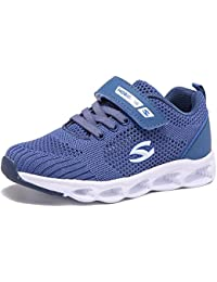 Kids Breathable Knit Sneakers Lightweight Mesh Athletic Running Shoes