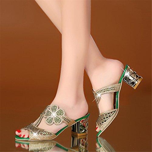 Évider Sexy Chaussures Tongs Femme Plage Sur Green Talons Crystals Lumino Peep Slip Été Mode Toe Parti Femmes hauts Pantoufle TBnqP8FX