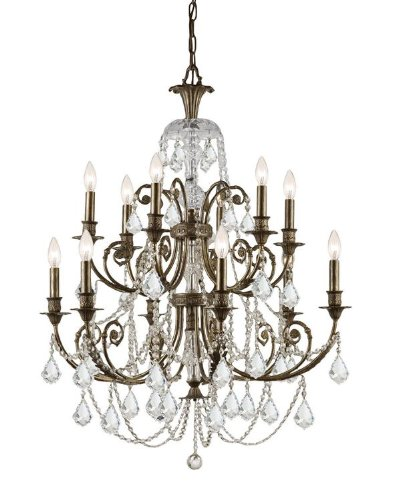 Crystorama Clear Swarovski Spectra Crystal Wrought Iron Chandelier 5119-EB-CL-SAQ