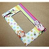 Polka Dot Owl Girls Nursery Bedroom Light Switch Cover LS0072 (Triple Standard)