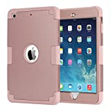 iPad mini Case,iPad mini 2 Case,iPad mini 3 Case,iPad mini Retina Case,BENTOBEN Anti-slip Shock-Absorption Silicone High Impact Resistant Hybrid Three Layer Armor Protective Case Cover Rose gold