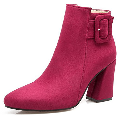 Boots IDIFU Suede Heel Rose Red Womens Sexy Zipper Ankle Pointed Block Side Faux High Buckle Toe OqSOw8Hrt