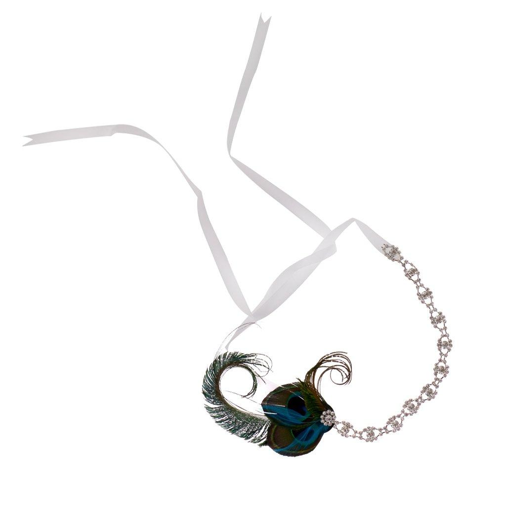 Peacock Feather Sparkly Rhinestone Headband Hair Band for Bridal Wedding Generic STK0156006141