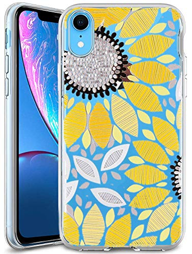 iPhone XR Case Clear with Sunflower Design Protective Case for iPhone XR Cute Summer Yellow Flower Pattern Flexible Slim Rubber Floral Cell Phone Cover for Girls Women (Sunflower)