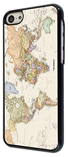 178 - Cool Fun World Map The World Look Design iphone 5C Coque Fashion Trend Case Coque Protection Cover plastique et métal - Noir