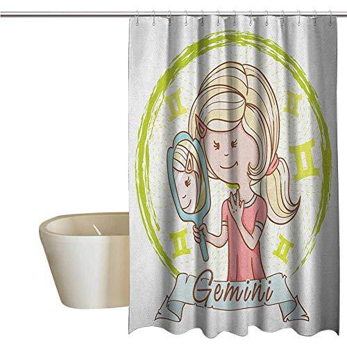 Zodiac Gemini Elegant Shower Curtains Cartoon Style Little Girl with a Mirror - Mirrors Penn State Bathroom