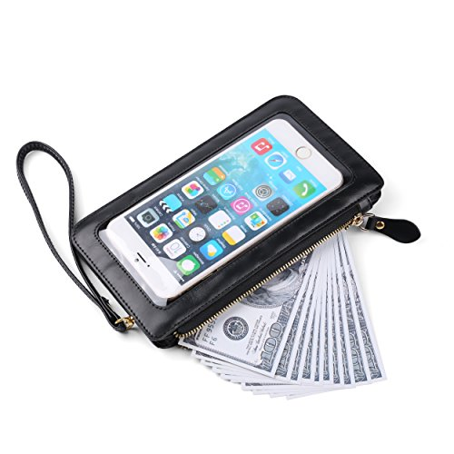 Universal Crossbody Wallet Zipper Bag Screen Touch Handbag Black Clutch tfWtzrqnaP