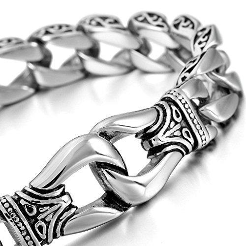 Bali Silver Bracelet Watch (Epinki, Men's Stainless Steel Bracelet Link Wrist Silver Vintage Polished)