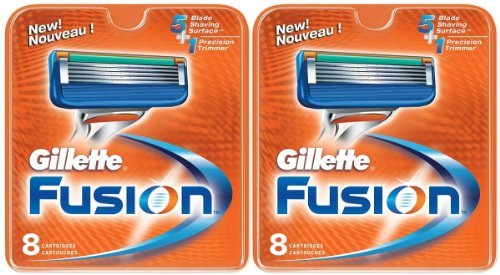 Gillette Fusion Manual Refill Cartridges, 8 Count (Pack of 2)