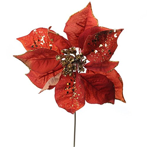 Factory Direct Craft Group of 12 Festive Copper Velvet Artificial Poinsettia Stems with Gold Glitter Accents for Home Decor, Crafting and Displaying