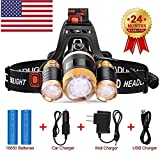 Brightest and Best LED Headlamp American Design 6000 Lumen flashlight-IMPROVED CREE LED Rechargeable 18650 headlight flashlights Waterproof Hard Hat Light Bright Head Lights Camping Running headlamps