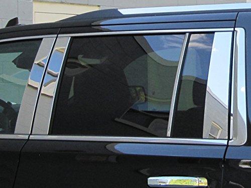 (QAA FITS Suburban 2015-2019 Chevrolet (10 Pc: Stainless Steel Pillar Post Trim Kit w/Strip for Rear Most Pillar, 4-Door, SUV) PP55199)