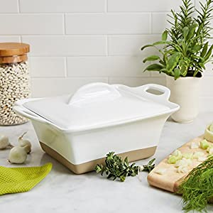 Rachael Ray Collection Stoneware Square Casserole, 2.5-Quart, White
