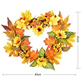 Royarebar Autumn Decorations Christmas Wreath Thanksgiving Decoration Garland Heart-Shaped Maple Leaf Sunflower Wreath