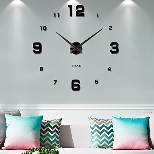 Modern Frameless DIY Wall Clock Large 3D Wall Watch Non Ticking for Living Room Bedroom Kitchen (Black-005) (2-Year Warranty) Blank Clock