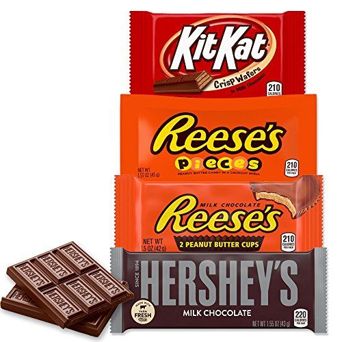 HERSHEY'S Chocolate Candy Variety Pack, Reese's, Reese's Pieces, Kit Kat, 20 Count